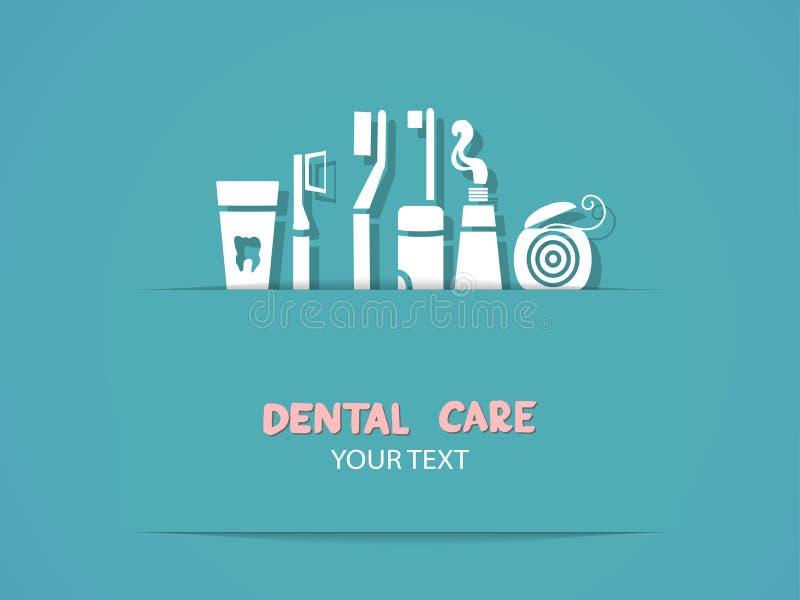 Fondo con i simboli di cure odontoiatriche illustrazione di stock