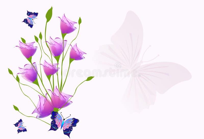 Download Fondo con i tulipani illustrazione di stock. Illustrazione di farfalle - 30829614