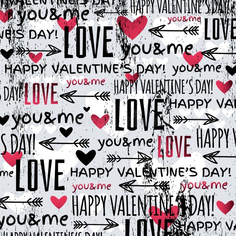Fondo con il cuore del biglietto di S. Valentino e il te rossi di desideri illustrazione di stock