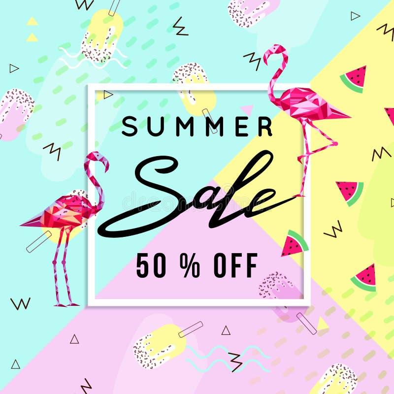 Fondo con il fenicottero, fondo del modello dell'insegna di vendita di estate di estate Illustrazione di vettore illustrazione di stock