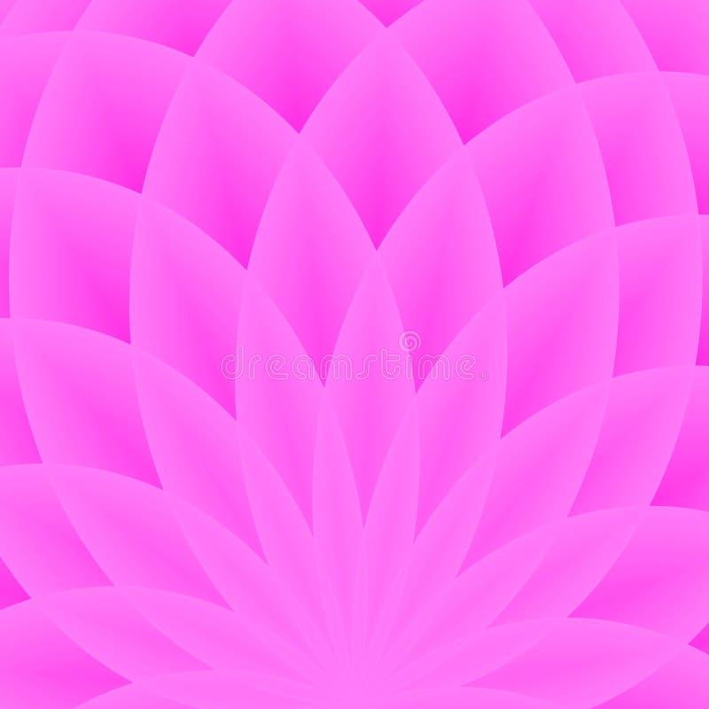 Fondo con il fiore geometrico porpora luminoso Luce spettrale di flusso Forme geometriche con molti petali del loto Reticolo di v royalty illustrazione gratis