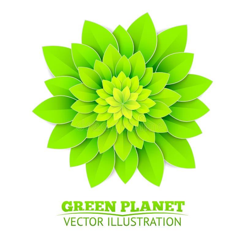 Fondo con il fiore verde. illustrazione di stock
