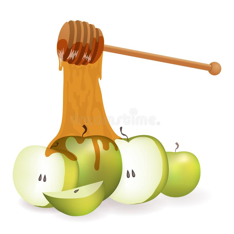 Fondo con il miele della mela Shana Tova ebreo illustrazione vettoriale