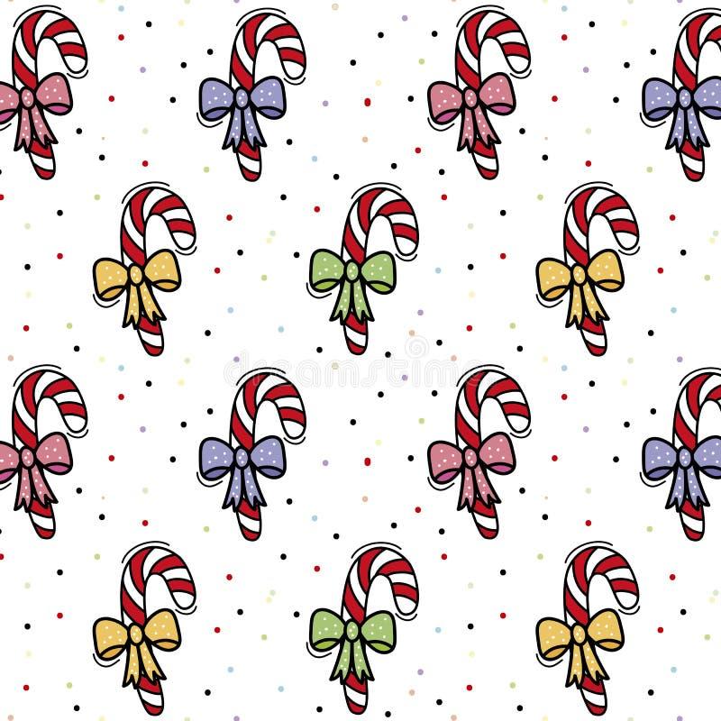 Fondo con il modello delle caramelle di Natale illustrazione di stock