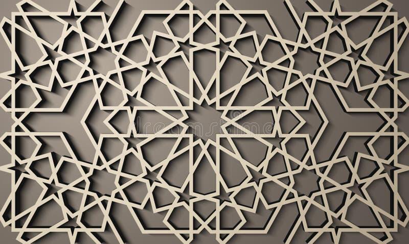 Fondo con il modello senza cuciture 3d nello stile islamico , ornamento orientale geometrico arabo, motivo persiano illustrazione di stock