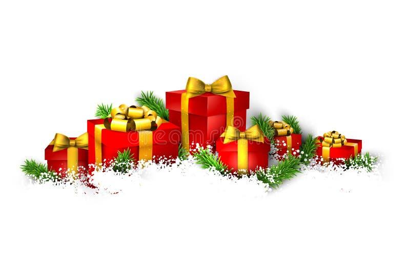 Fondo con il mucchio dei contenitori di regalo illustrazione vettoriale