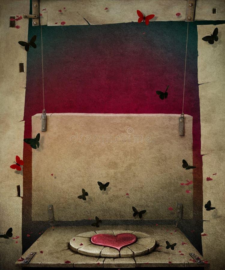 Fondo con il nero delle farfalle ed il simbolo del cuore. illustrazione di stock