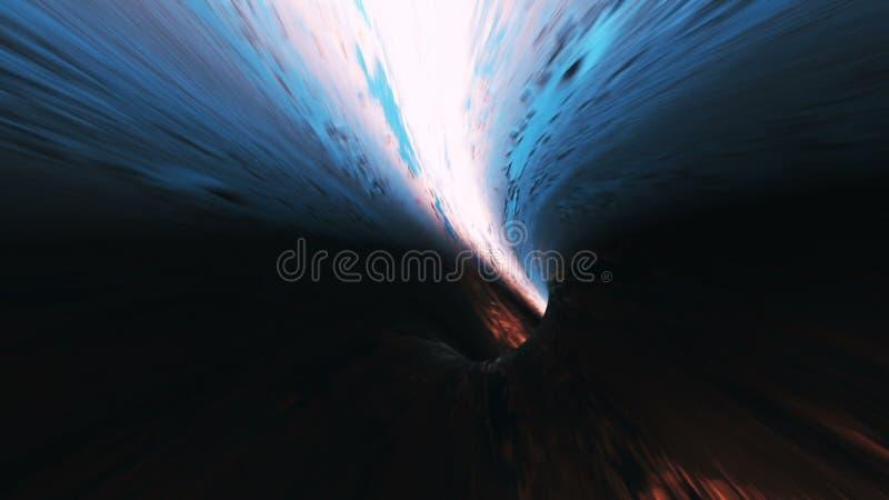 Fondo con il volo in tunnel di fantascienza con le luci fantastiche illustrazione di stock