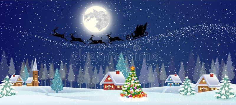 Fondo con l'albero di Natale ed il villaggio di notte illustrazione vettoriale