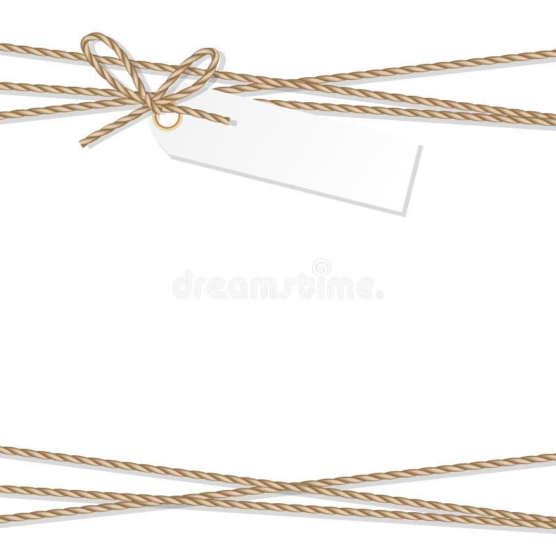 Fondo con l'arco ed i nastri della corda illustrazione di stock