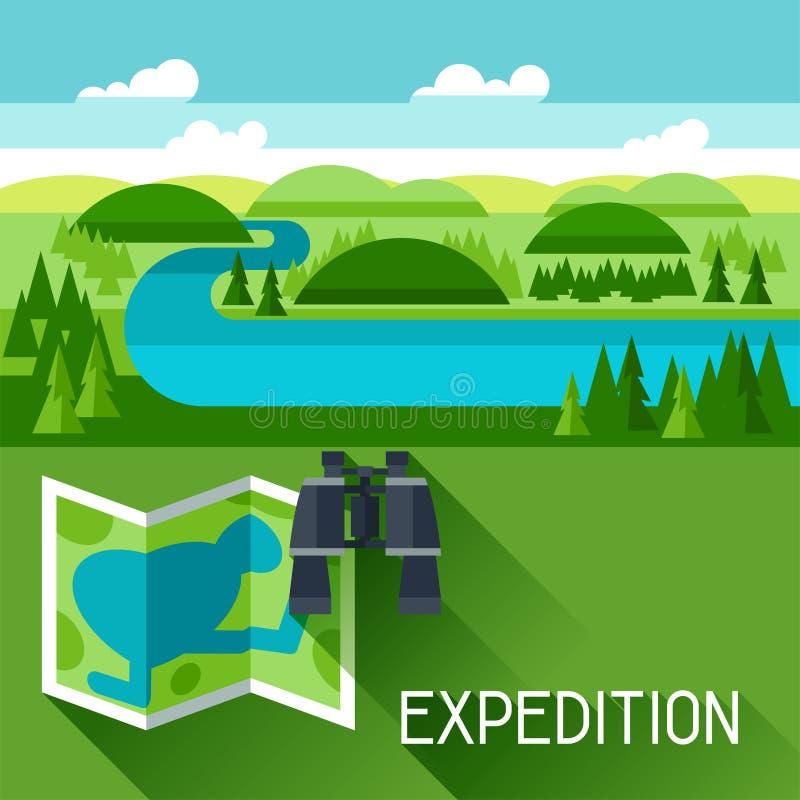 Fondo con l'illustrazione del paesaggio del fiume illustrazione vettoriale