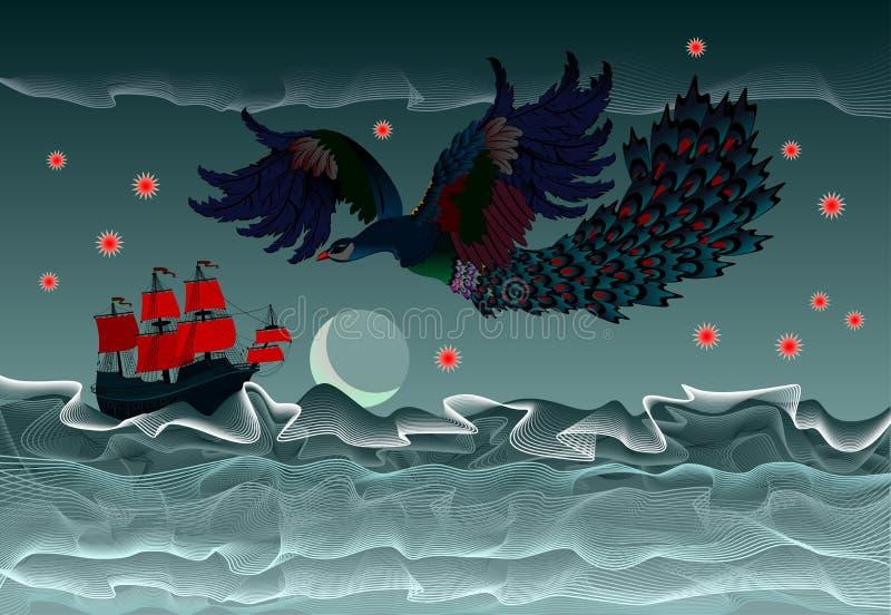 Fondo con l'illustrazione fantastica della barca a vela antica e dell'fuoco-uccello volante di fiaba Onde tempestose del mare illustrazione vettoriale