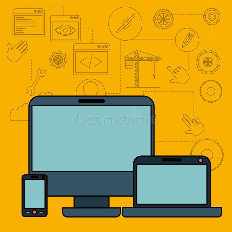 Fondo con l'insieme degli elementi che costruiscono o dei dispositivi di tecnologia e di architettura nella parte anteriore illustrazione vettoriale
