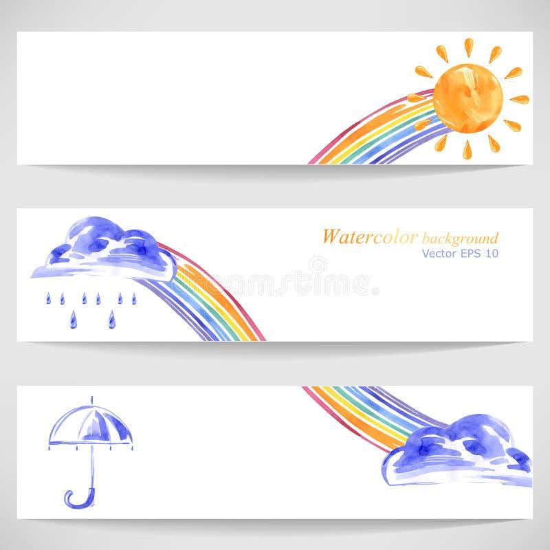Fondo con l'ombrello di sole, le nuvole, la pioggia e l'arcobaleno illustrazione vettoriale