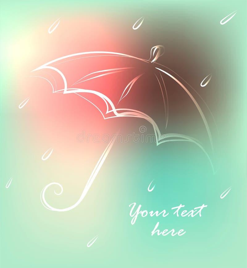 Fondo con l'ombrello e la pioggia disegnati a mano svegli, illustrazione di vettore illustrazione di stock