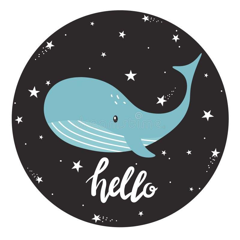Fondo con la ballena, las estrellas y el texto libre illustration