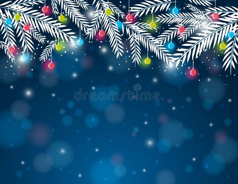 Fondo con la bola de la ramita y de la Navidad del pino, VE ilustración del vector