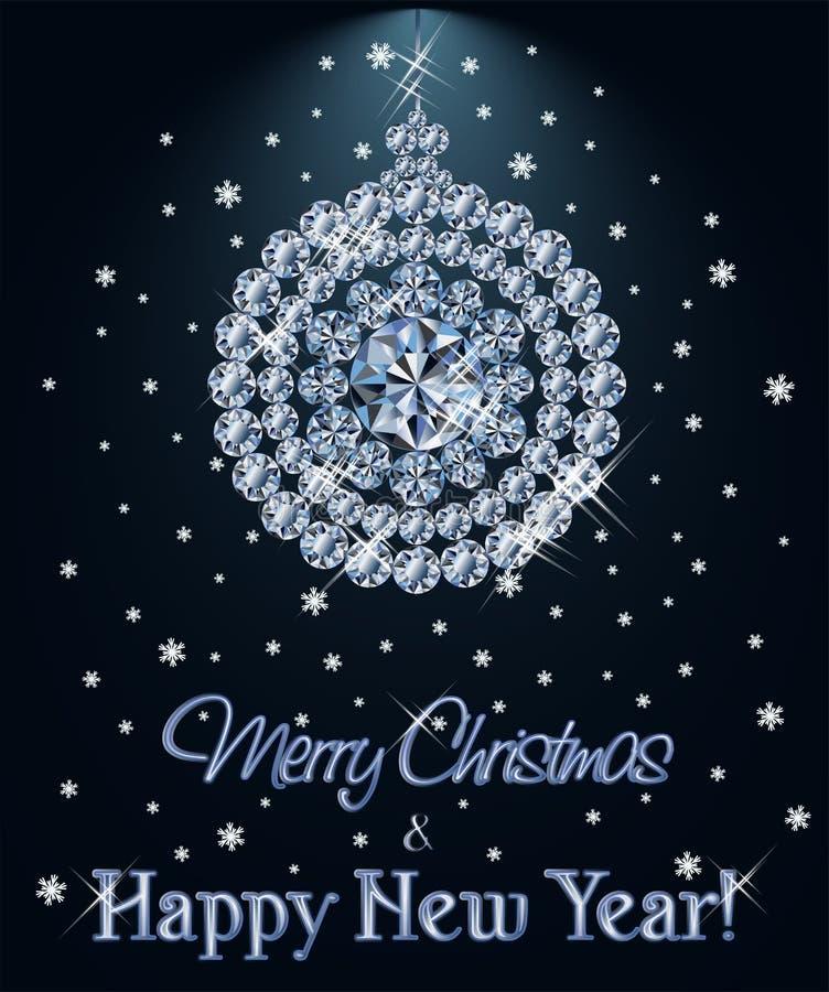 Fondo con la bola de Navidad, vector del diamante de la Feliz Navidad y de la Feliz Año Nuevo stock de ilustración