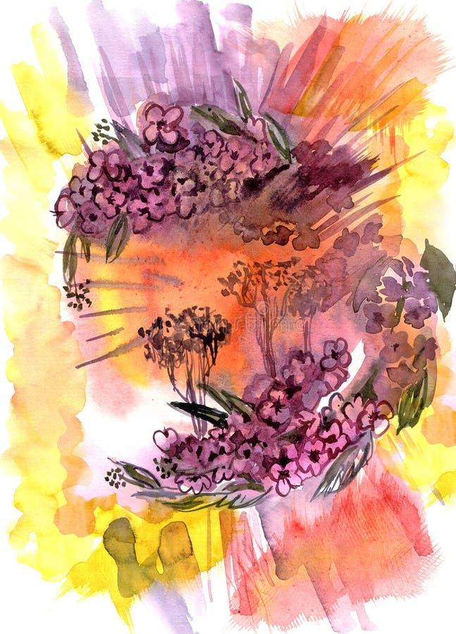 Fondo con la ciliegia orientale sbocciante dell'acquerello disegnato a mano illustrazione vettoriale