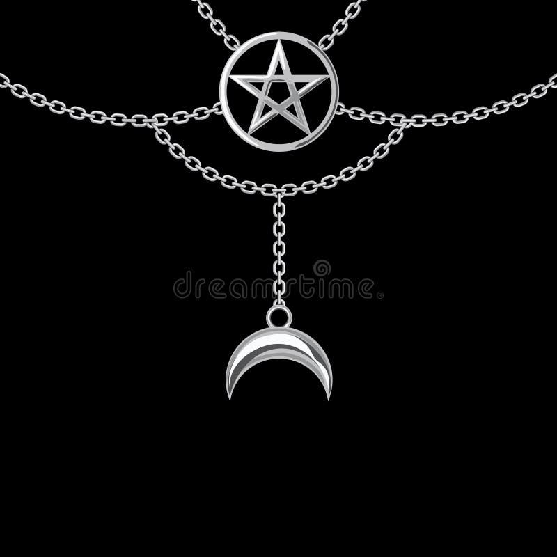 Fondo con la collana metallica d'argento Pendente e catene del pentagramma sul nero Illustrazione di vettore royalty illustrazione gratis