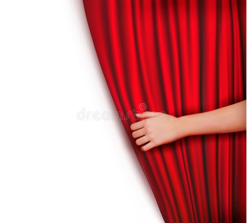 Fondo con la cortina roja del terciopelo libre illustration