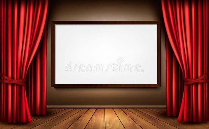 Fondo con la cortina roja del terciopelo y una Florida de madera ilustración del vector