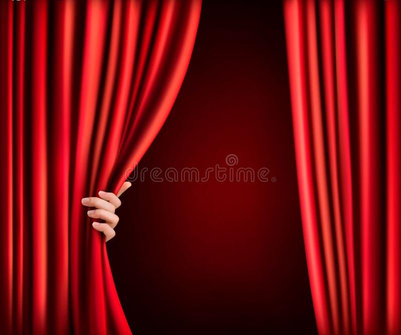Fondo con la cortina y la mano rojas del terciopelo. libre illustration