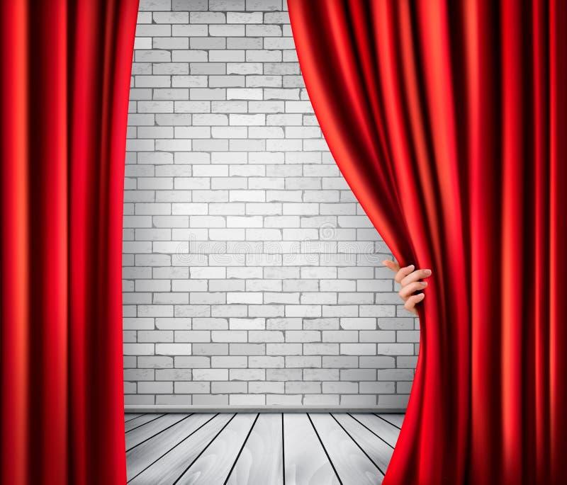 Fondo con la cortina y la mano rojas del terciopelo ilustración del vector