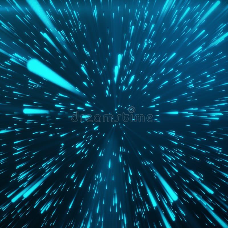 Fondo con la deformación de la estrella o Hyperspace abstracto Efecto de estallido abstracto Viaje Hyperspace El concepto de espa stock de ilustración
