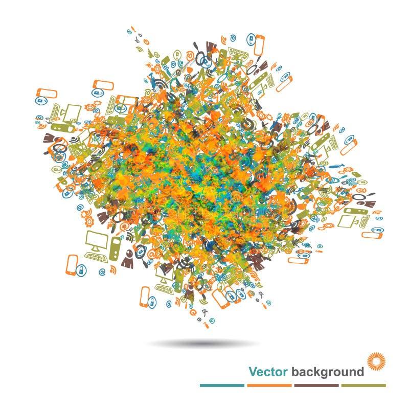 Fondo con la explosión de los iconos de Internet ilustración del vector