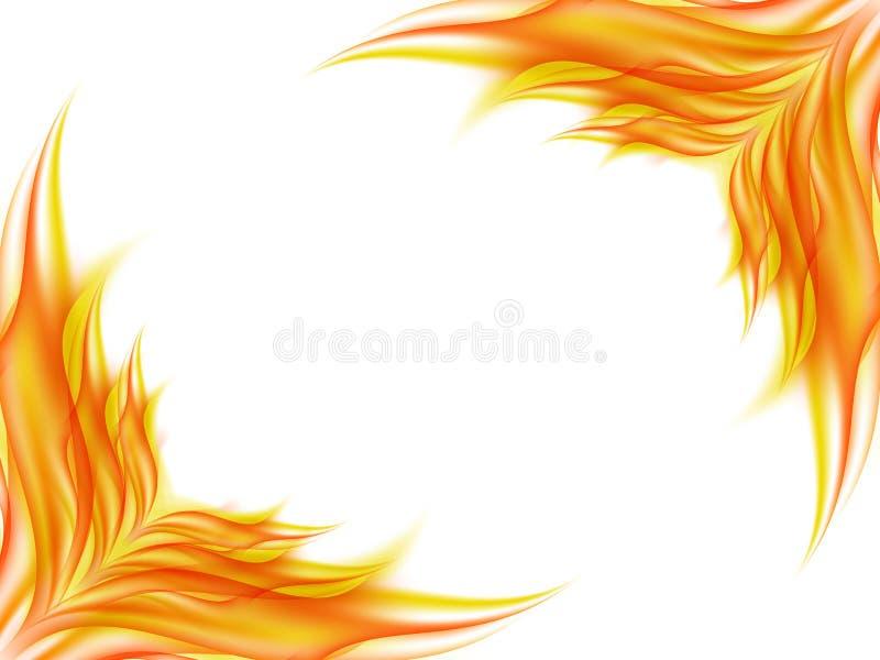 Fondo con la flor abstracta en colores rojos y amarillos en esquinas opuestas de una imagen en blanco, el ángulo de la liquidació stock de ilustración
