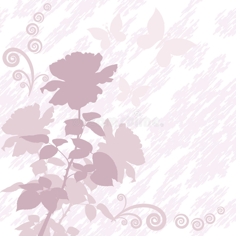Fondo con la flor color de rosa y las mariposas stock de ilustración