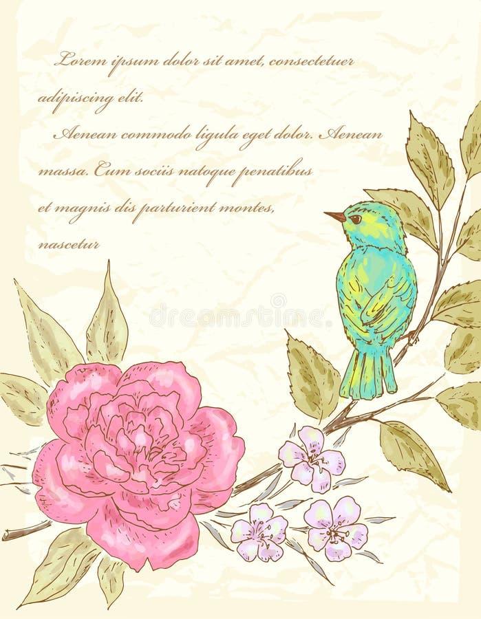 Fondo con la flor y el pájaro stock de ilustración
