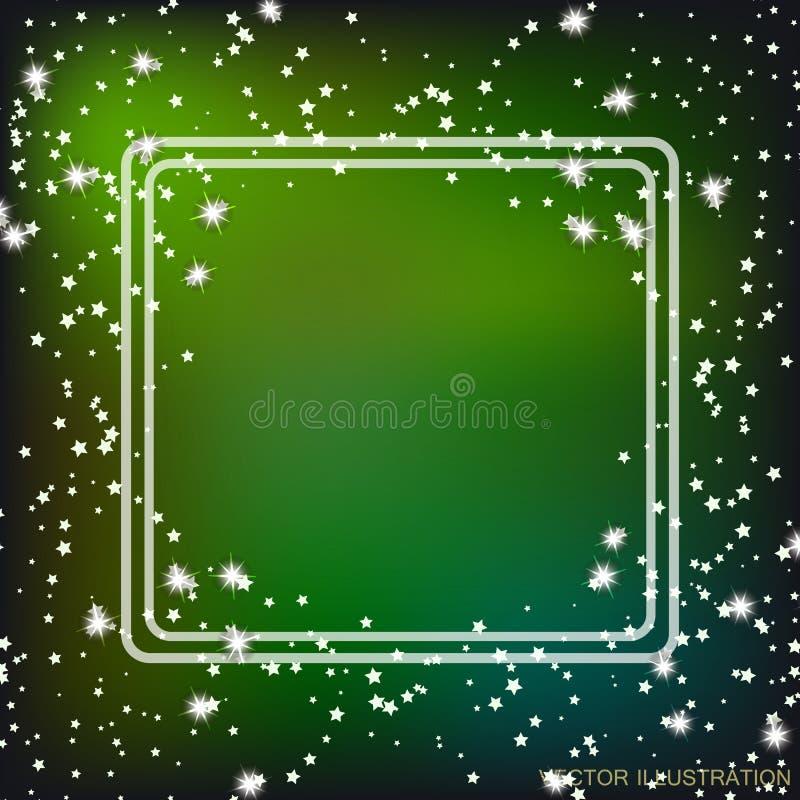 Fondo con la frontera y las estrellas en colores verdes Ilustración del vector libre illustration