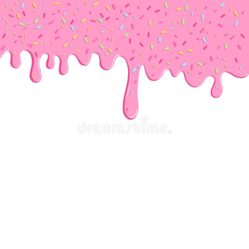 Fondo con la glassa rosa della ciambella Molto decorativo spruzza Facile cambiare i colori Progettazione del modello per l'insegn illustrazione vettoriale