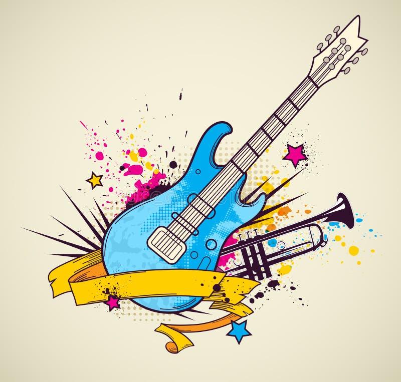 Fondo con la guitarra eléctrica y la trompeta ilustración del vector