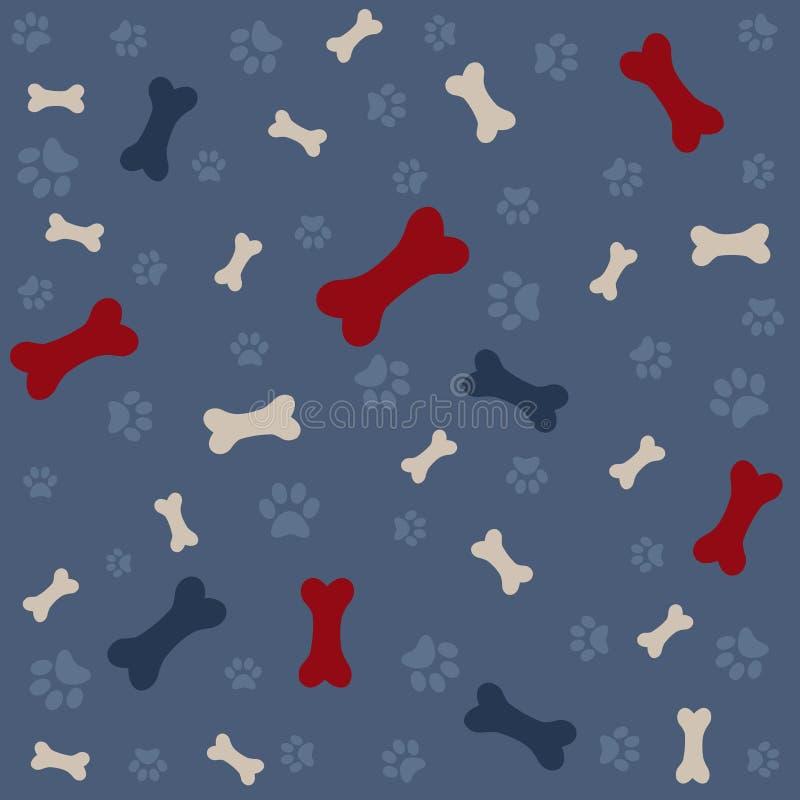 Fondo con la impresión y el hueso de la pata del perro stock de ilustración