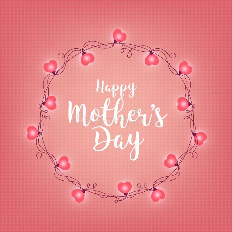 Fondo con la insignia y el saludo de día feliz de la madre s Marco ligero retro abstracto Guirnaldas realistas del color, festiva ilustración del vector