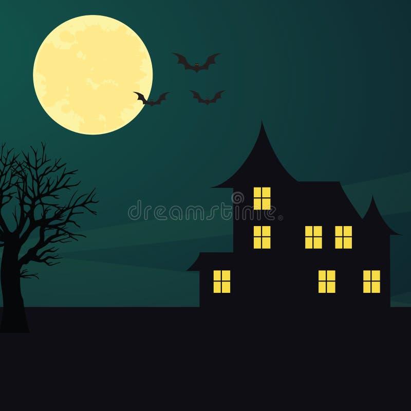 Fondo con la luna noche Víspera de Todos los Santos foto de archivo