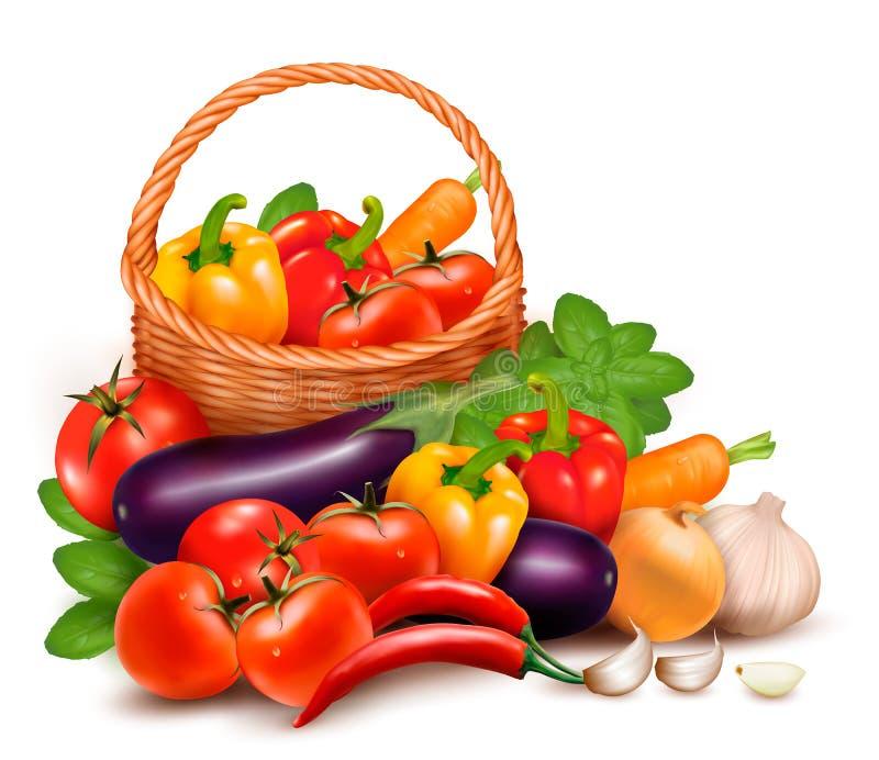 Fondo con la merce nel carrello della verdura fresca. illustrazione di stock