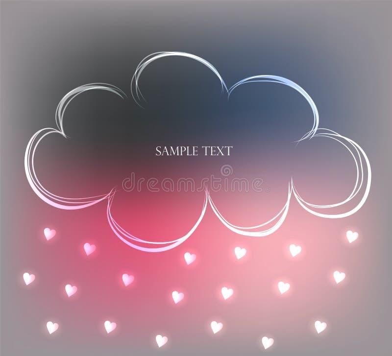 Fondo con la nube dibujada mano linda en el cielo y la lluvia de pequeños corazones, ejemplo del vector ilustración del vector