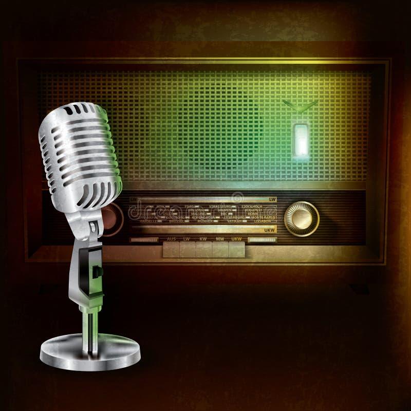 Fondo con la radio y el micrófono retros ilustración del vector