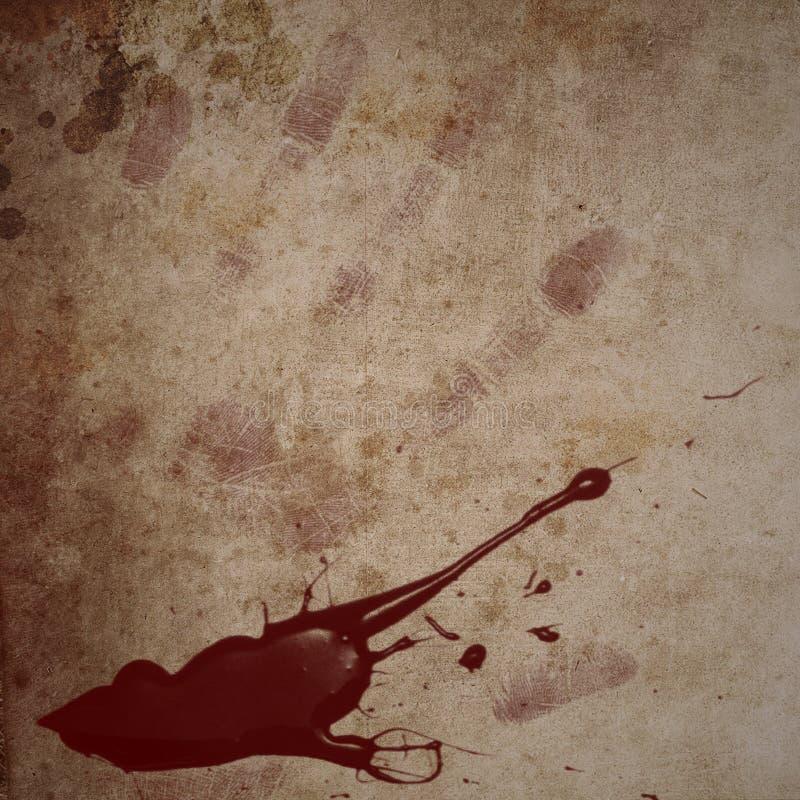 Fondo con la salpicadura de la sangre y la impresión de la mano imagen de archivo libre de regalías