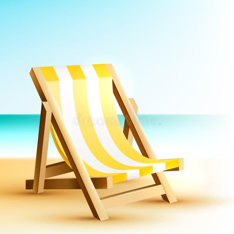 Fondo con la silla de playa de madera imagen de archivo