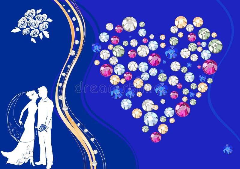 Fondo con la siluetta di una sposa e di uno sposo illustrazione vettoriale