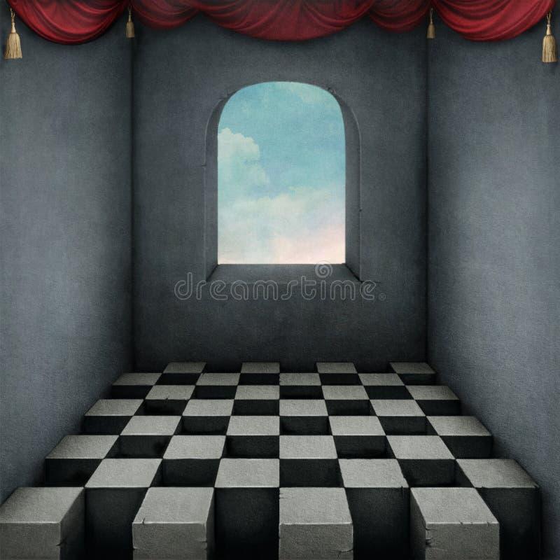 Fondo con la tarjeta y las cortinas de ajedrez ilustración del vector