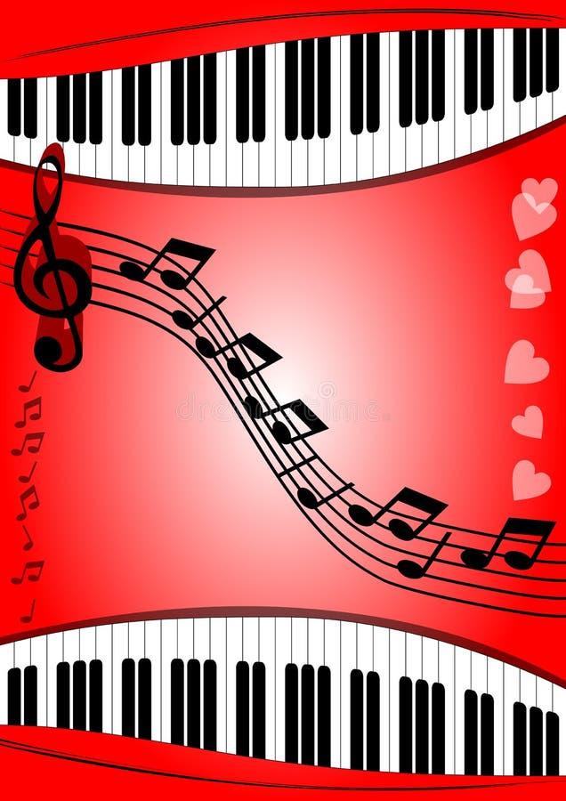 Fondo con la tastiera di piano di tema musicale, doga, chiave tripla su area rossa con la pendenza illustrazione di stock