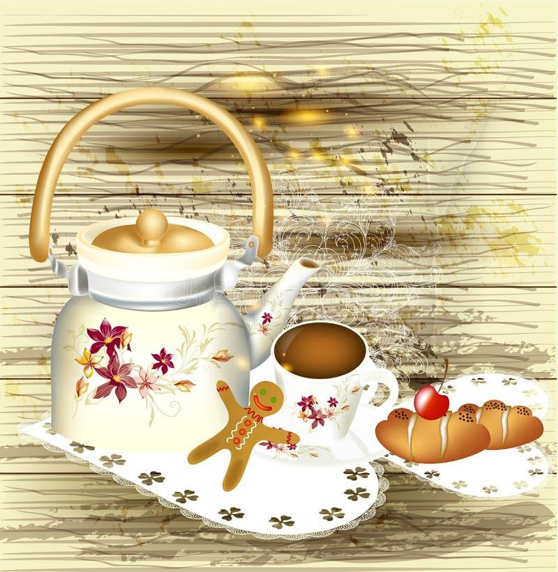 Fondo con la teiera, i dolci e la tazza di tè su un lerciume di legno illustrazione vettoriale