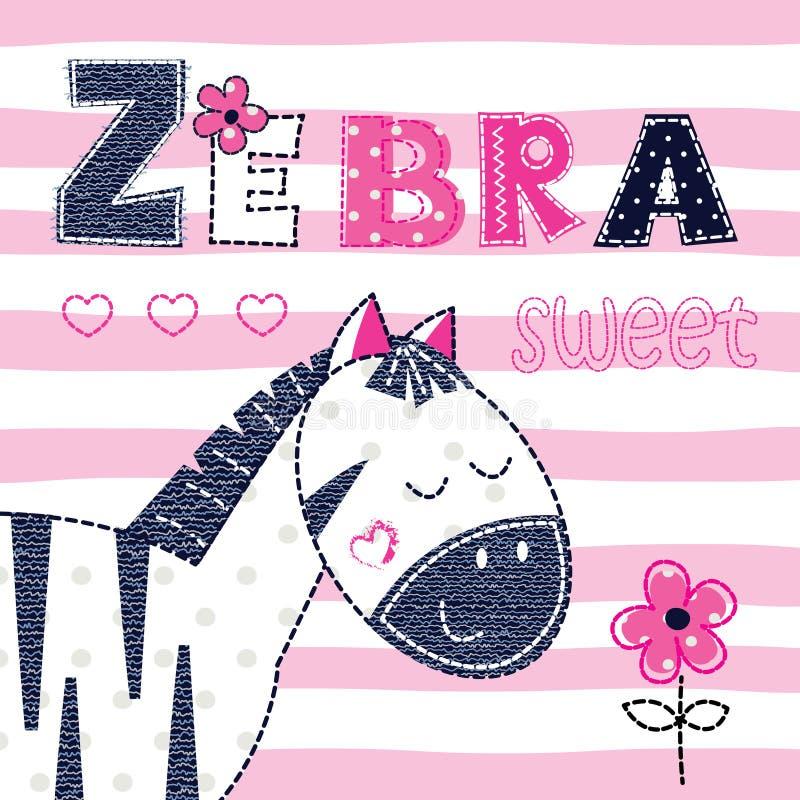 Fondo con la zebra sveglia royalty illustrazione gratis