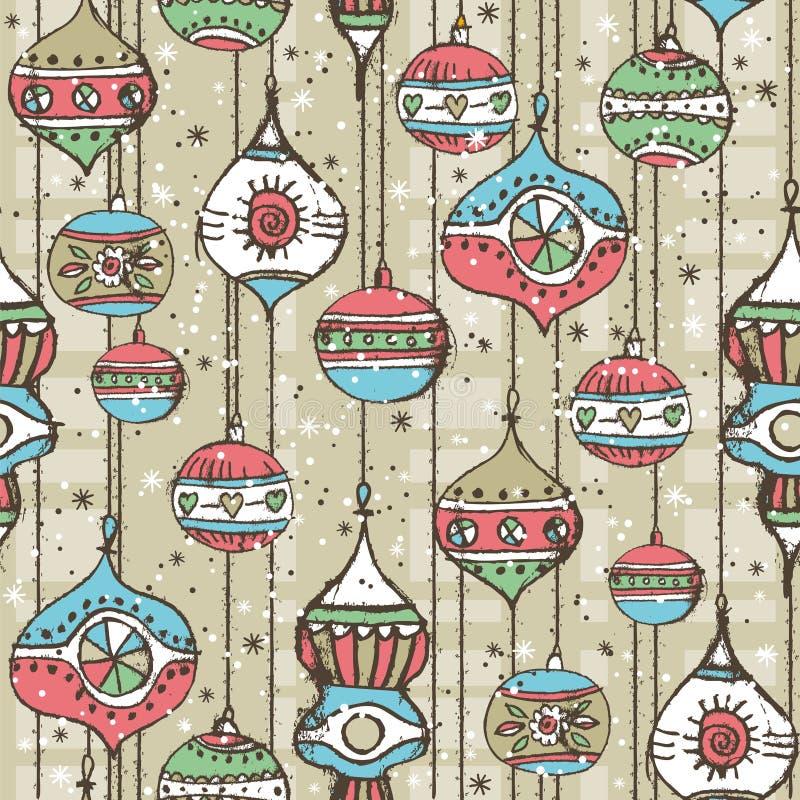 Fondo con las bolas de la Navidad, vector del Grunge ilustración del vector